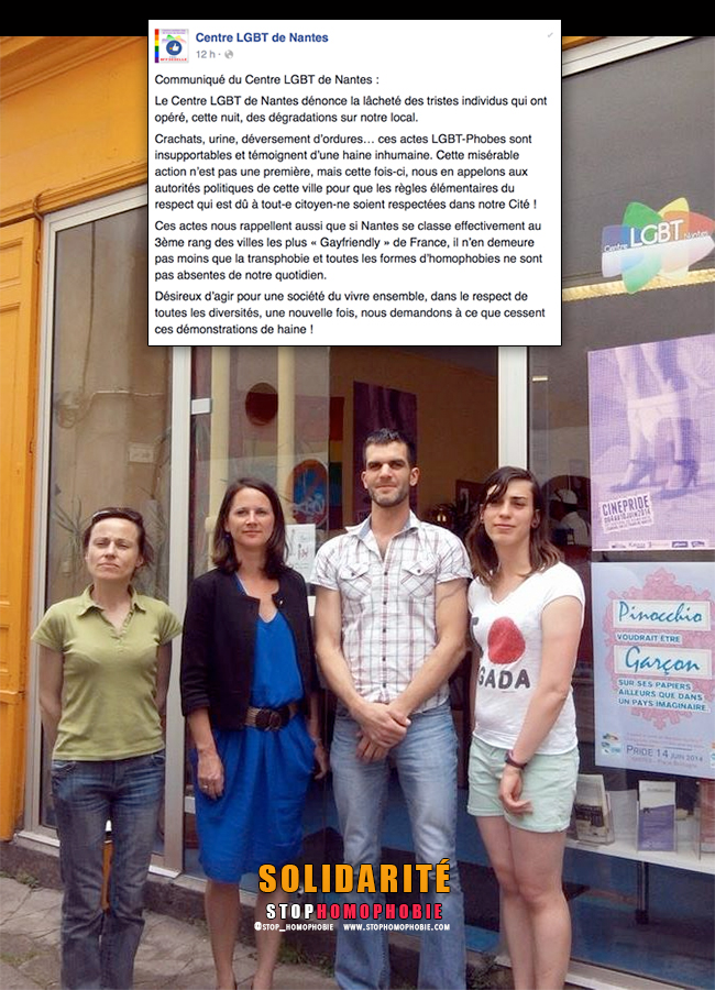 Solidarité : Le Centre LGBT de Nantes vandalisé