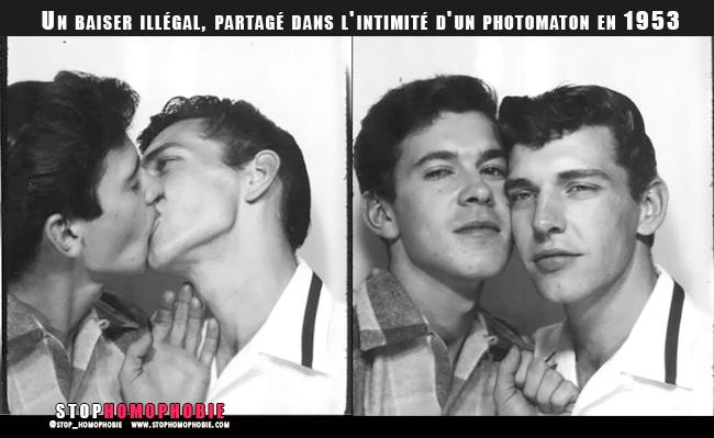 """Fierté #LGBT : Un baiser """"illégal"""", partagé dans l'intimité d'un photomaton en 1953 :)"""