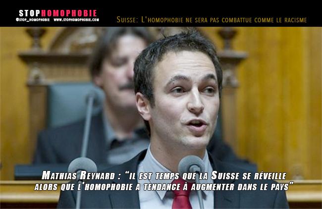 Suisse : L'homophobie ne sera pas combattue comme le racisme