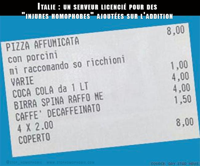 """Service compris : En Italie, un serveur licencié pour des """"injures homophobes"""" en prime sur l'addition"""