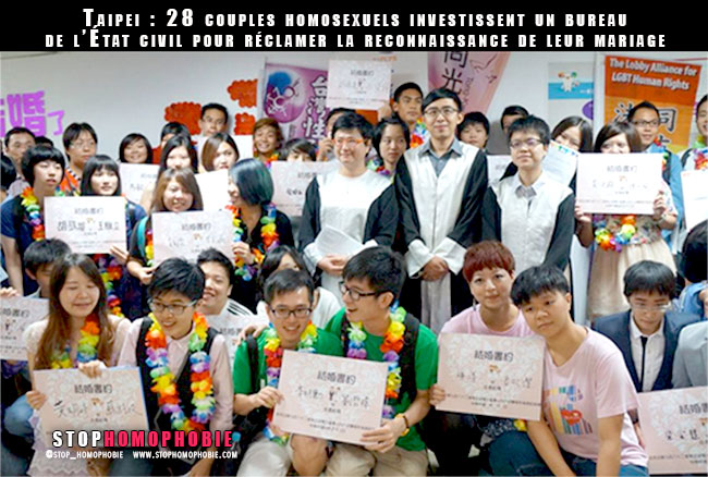 Taipei : 28 couples homosexuels investissent un bureau de l'État civil pour réclamer la reconnaissance de leur mariage
