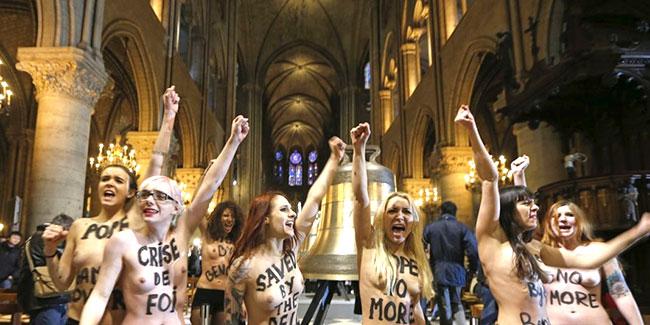 Vidéo. Dégradation d'une cloche de Notre-Dame de Paris : les Femen relaxées !