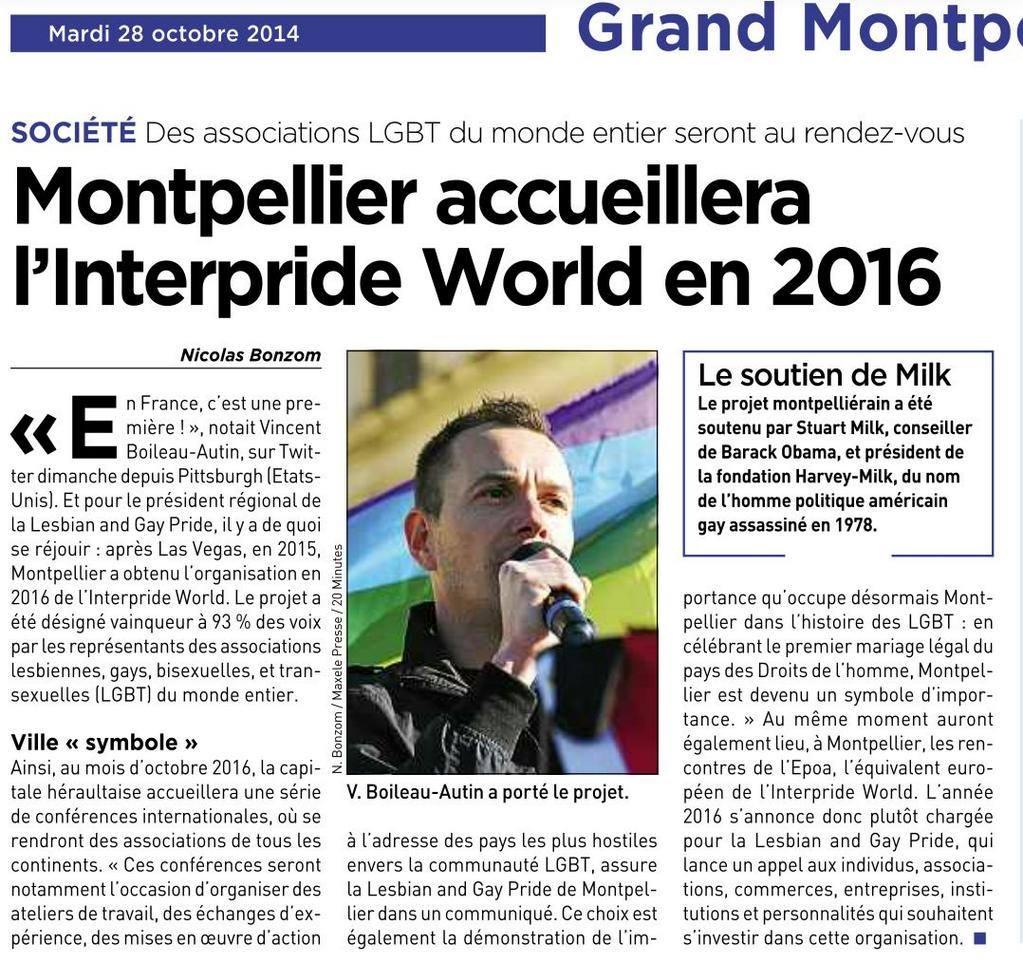 Vincent Boileau-Autin décroche l'organisation de l'Interpride à Montpellier : une 1ère en France.