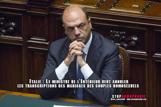 Italie : Le ministre de l'Intérieur veut annuler les transcriptions des mariages des couples homosexuels