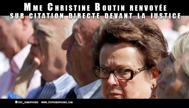 """""""L'homosexualité est une abomination"""" : Christine Boutin renvoyée sur citation directe devant la justice"""