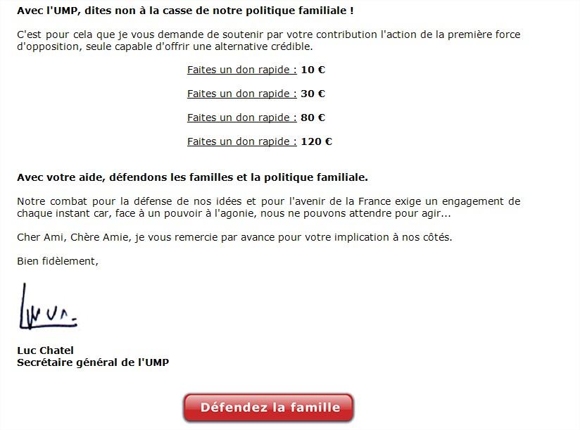 """Quand Luc Chatel propose de """"défendre les familles"""" en faisant un don à l'UMP"""