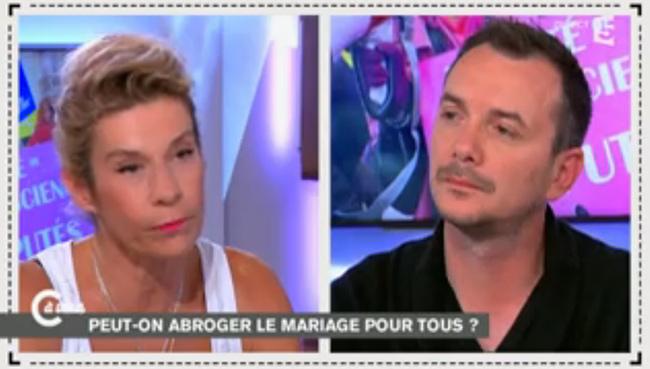 C à vous : Frigide Barjot, Frédéric Mitterrand et Vincent Autin sur l'abrogation du mariage pour tous promise par Sarkozy