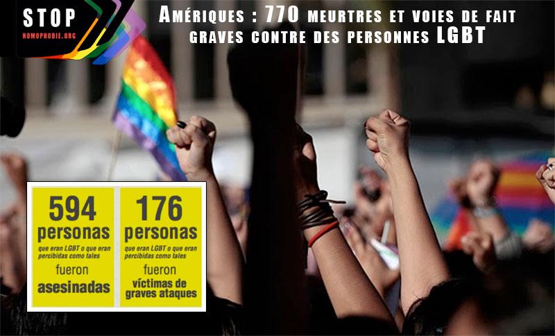 Amériques : 770 meurtres et voies de fait graves contre des personnes LGBT