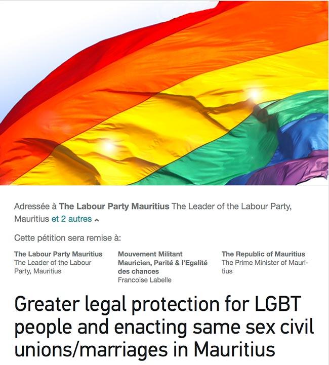 Pétition solidaire : L'Île Maurice ne peut plus ignorer les droits fondamentaux de ses citoyens LGBT