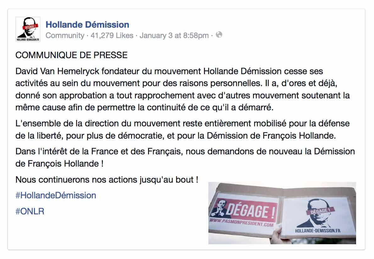 """Quand le fondateur de """"Hollande Démission"""", David Van Hemelryck, annonce... sa démission"""