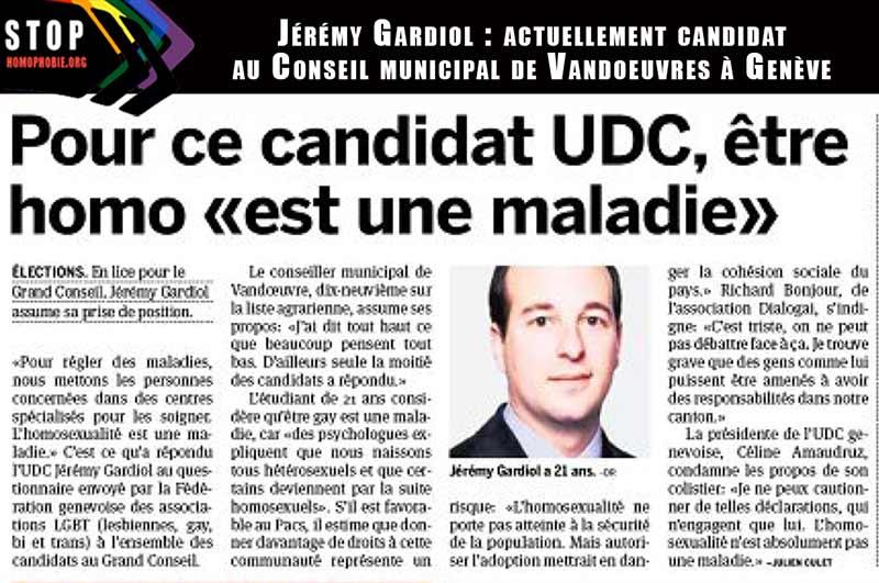 Genève : Pour Jérémy Gardiol, candidat au Conseil municipal de Vandoeuvres : être homo «est une maladie»
