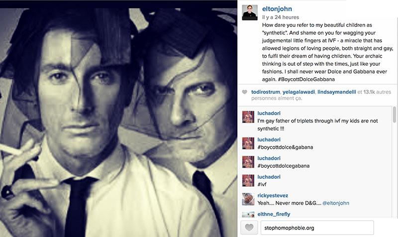 Homoparentalité : Quand Elton John clashe et appelle au boycott de Dolce & Gabbana