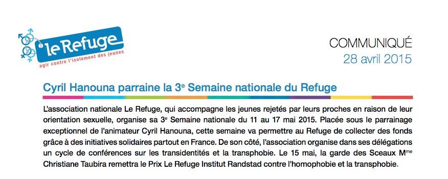 Du 11 au 17 mai : Troisième semaine nationale du Refuge