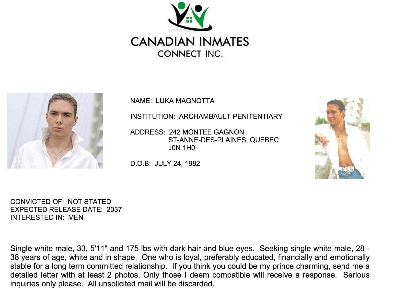 Magnotta, le dépeceur, se cherche un «prince charmant» en prison