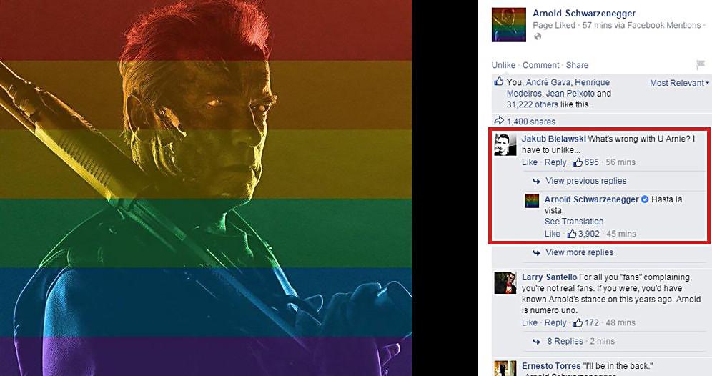 """Quand Schwarzenegger """"envoie se brosser"""" l'un de ses fans opposé au """"mariage gay"""""""