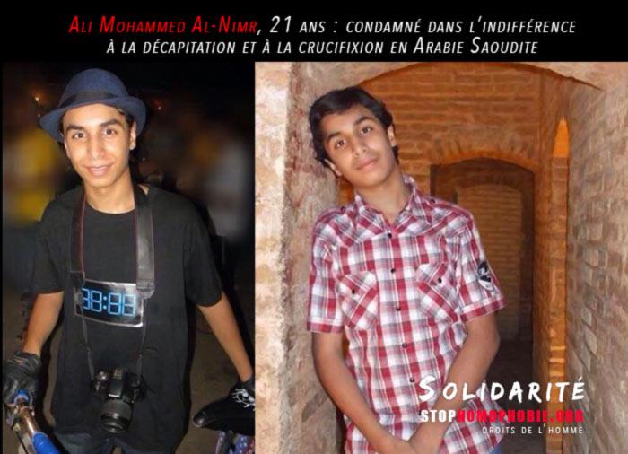 Ali Mohammed Al-Nimr, 21 ans : condamné à la décapitation et à la crucifixion en Arabie Saoudite