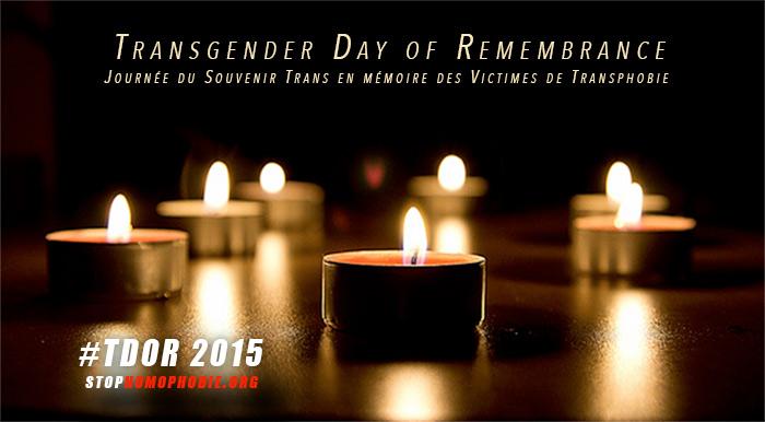 """TDoR 2015  : """"Journée Internationale du Souvenir Trans"""", en mémoire des victimes de transphobie"""