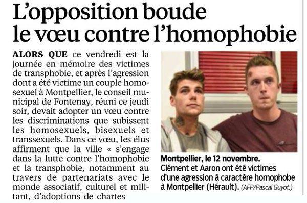 « Tristes réalités » à Fontenay : le vœu contre l'homophobie boudé par l'opposition divers droite
