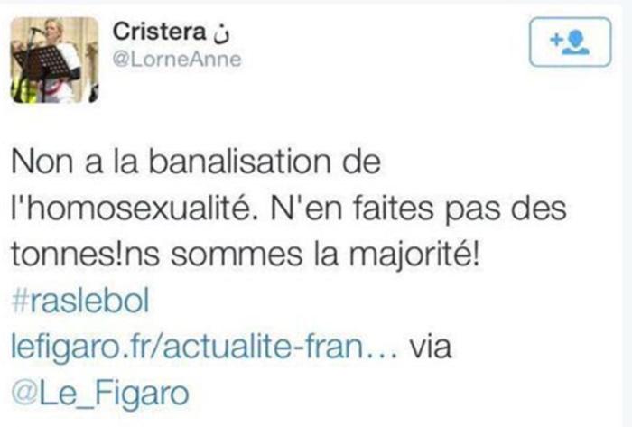 Anne Lorne, quand comptez-vous présenter des excuses publiques pour vos tweets homophobes ?