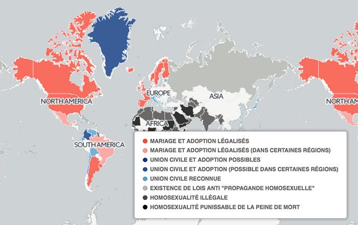 Carte interactive : L'homosexualité est encore répréhensible dans près de 80 pays