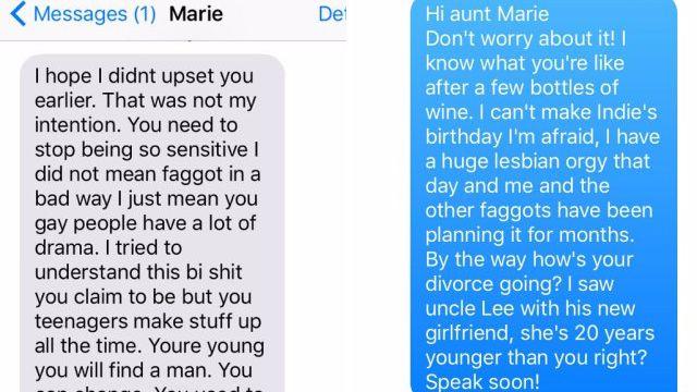 Echanges inédits : Victime de l'homophobie de sa tante, elle partage leurs conversations sur Internet