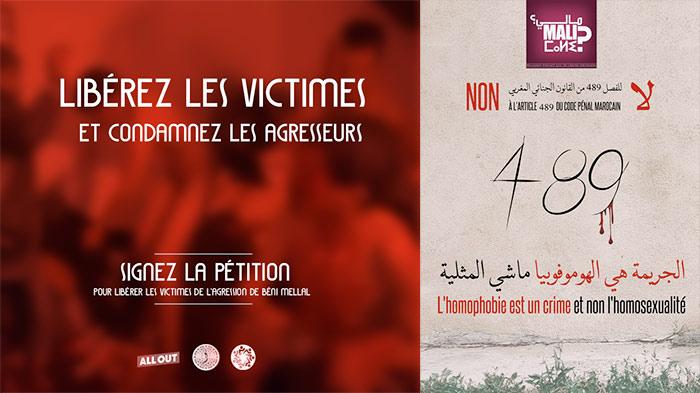 Pétitions solidaires pour l'abrogation de l'article 489 du code pénal marocain, qui criminalise l'homosexualité