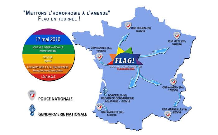IDAHOT2016 : Flag ! poursuit ses actions de sensibilisation dans les services de gendarmerie et de police
