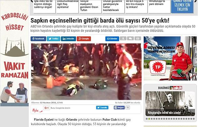 Massacre d'Orlando : « 50 pervers abattus dans un bar ! », titre un quotidien pro-gouvernemental turc