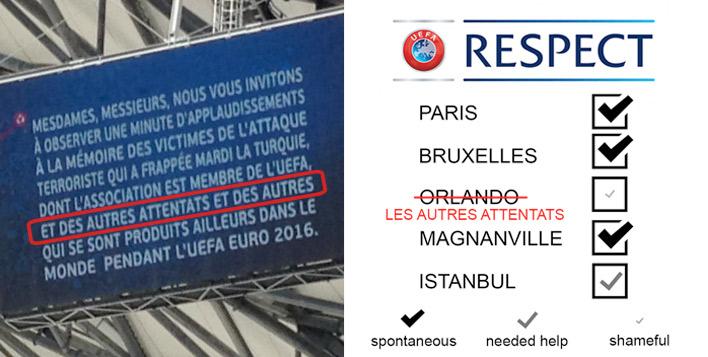 « Remerciements » à l'UEFA pour l'hommage rendu aux victimes de l'attaque terroriste d'Istanbul  et « des autres attentats »