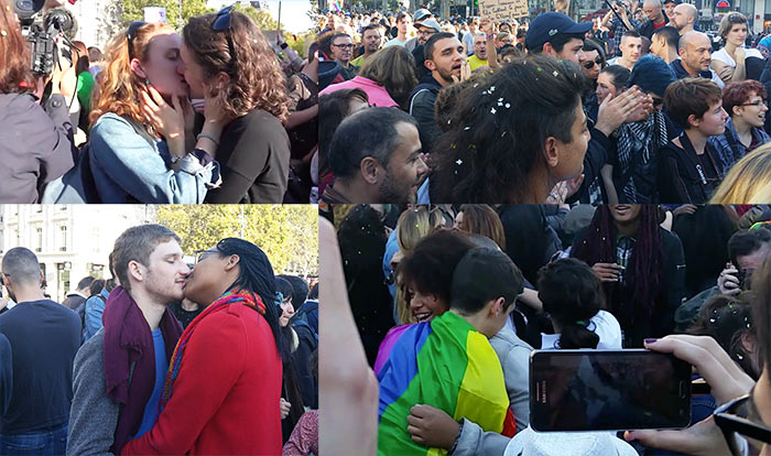 « Kiss-in Paris » : plusieurs dizaines de couples en soutien au Mariage pour tous (VIDEOS)