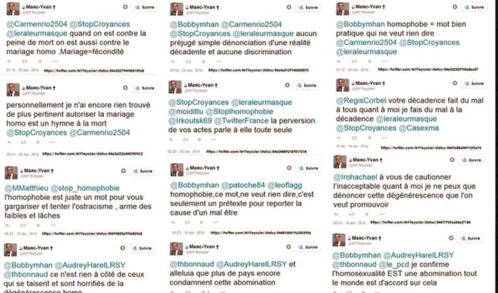 Les dérapages homophobes sur twitter de Marc-Yvan Teyssier (Parti Chrétien-Démocrate)
