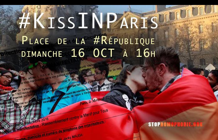 « KissINParis » contre l'homophobie : RDV ce dimanche 16 octobre à 16h Place de la République
