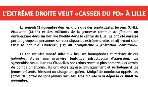 « On va casser du PD ! » : Des jeunes agressés à Lille par des membres du groupuscule « Génération Identitaire »