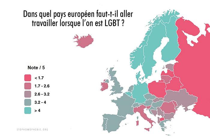 Enquête : La France recalée du « Top 10 » des meilleurs pays européens pour travailleurs LGBT