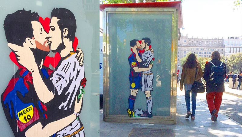 Street art : Avant le Clasico, le baiser passionné de Messi et Ronaldo en plein coeur de Barcelone