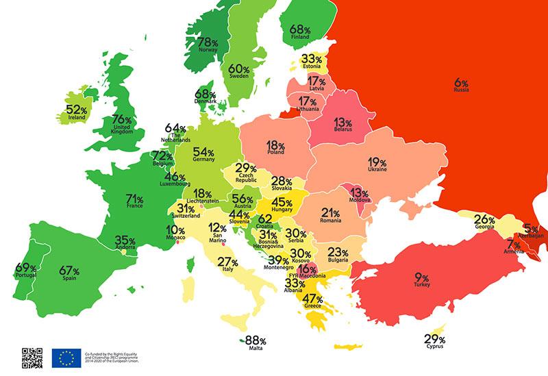 Baromètre 2017 des droits LGBT : La France en 5e position du classement européen, selon ILGA