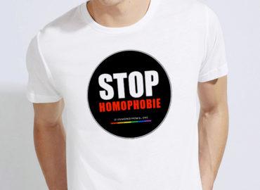 « STOP homophobie » : Tee-Shirt col rond