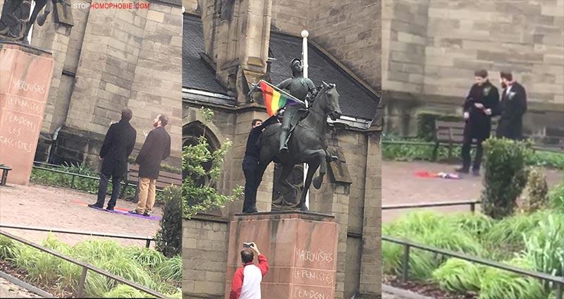 Strasbourg : un drapeau arc-en-ciel décroché de la statue de Jeanne-d'Arc et incendié par deux individus (VIDEO)