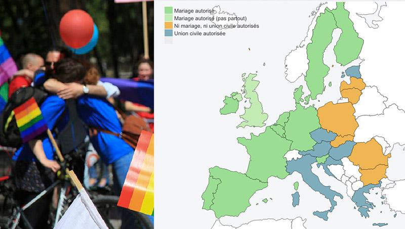 Etat des lieux des législations sur les mariages et unions civiles pour les couples homosexuels