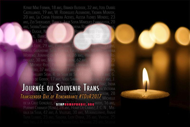 TDoR2017 : 325 crimes transphobes recensés à travers le monde entre le 1er octobre 2016 et le 30 septembre 2017