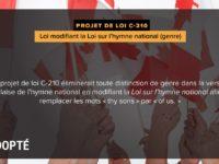 L'hymne national canadien revient à sa neutralité originelle : « Un autre pas vers l'égalité des sexes »