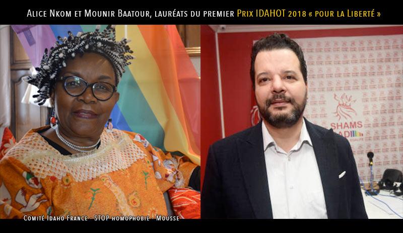 L'avocate camerounaise Alice Nkom et son confrère tunisien Mounir Baatour, lauréats du premier Prix IDAHOT 2018 « Pour la Liberté »