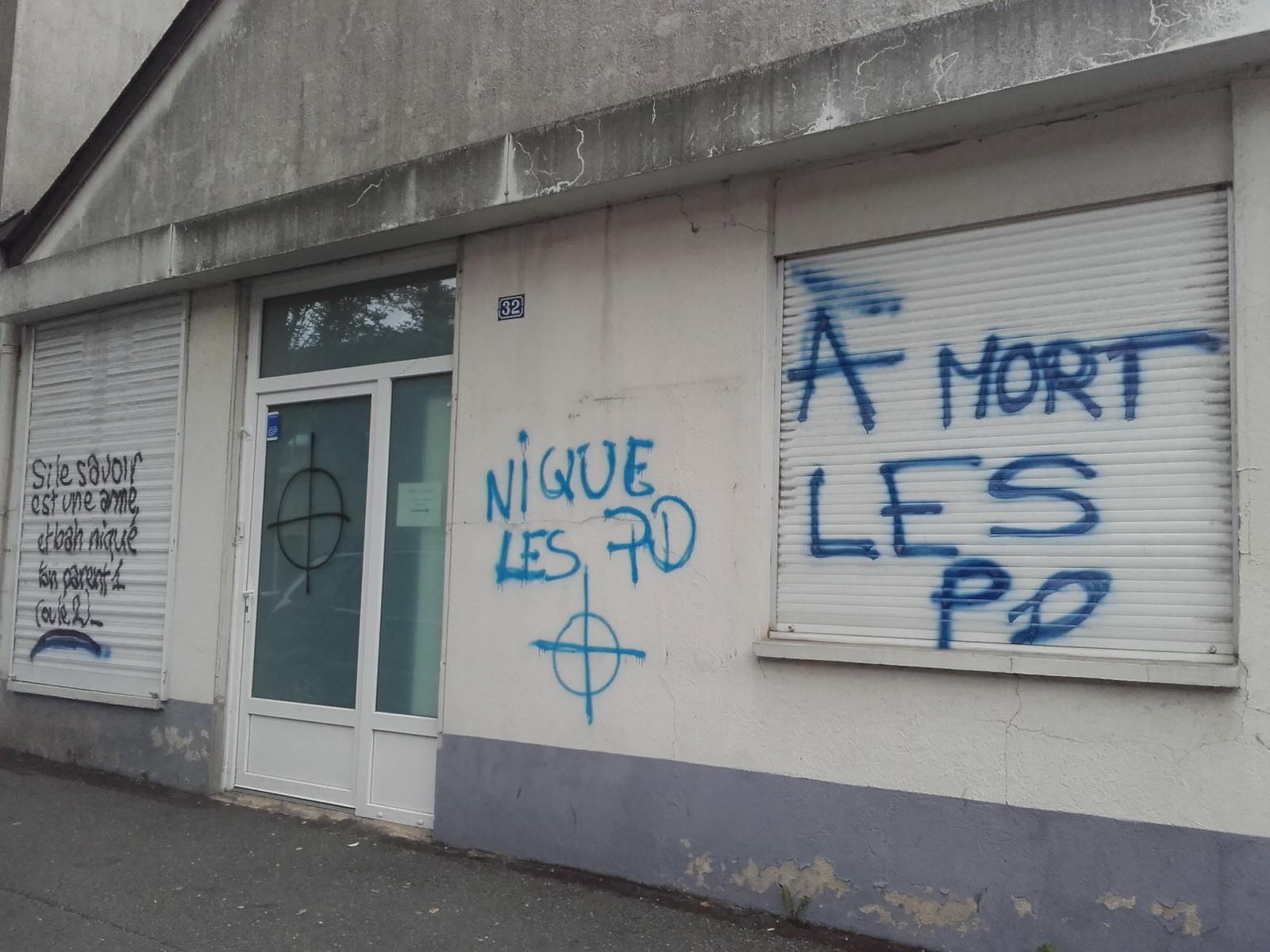 La façade du centre LGBT d'Angers recouverte de tags homophobes « pour la deuxième fois en moins de 3 semaines »