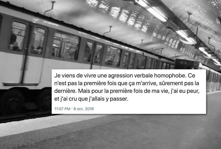 Agression verbale homophobe dans le métro parisien : Ce n'est pas la première fois mais « j'ai cru que j'allais y passer »