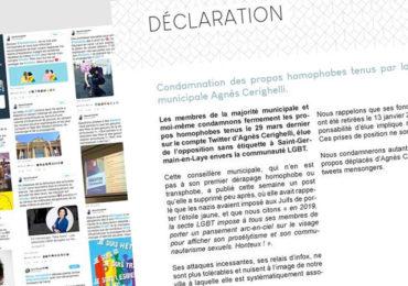 Saint-Germain-en-Laye : Les membres de la majorité municipale et le maire condamnent les propos homophobes tenus par Agnès Cerighelli