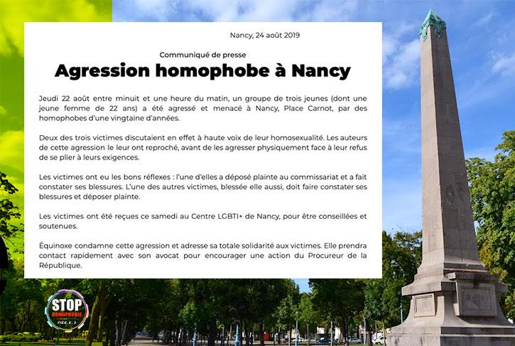 Agression homophobe à Nancy : Trois jeunes gens pris à partie physiquement et menacés