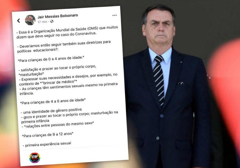 Selon Jair Bolsonaro, « l'OMS encourage les enfants à la masturbation et à l'homosexualité »