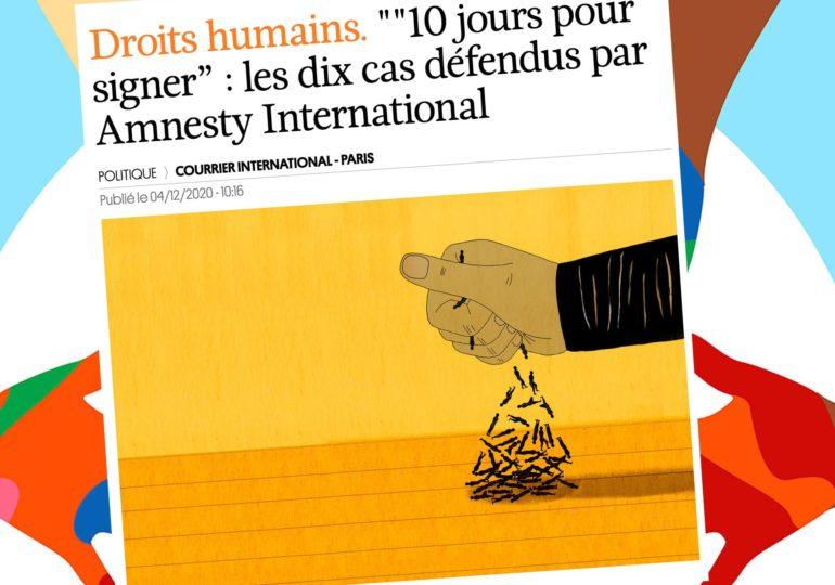 « 10 jours pour signer » : les dix cas défendus par Amnesty International dans lesquels les droits humains sont bafoués